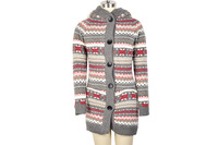 Women Knitwear Thick Winter Hooded Cardigan Coat Loose Sweater Fleece Lined Tops