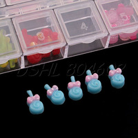 Brand New Resin 12 Colors Lollipop Shaped Nail Art DIY Bows Decoration w/Case