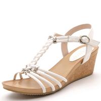 2014 moolecole women wedges heels shoes elegent office&career guniune leather wedges high heels shoes casual shoes women pumps