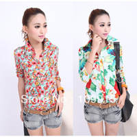 Wholesale Women Half Sleeve Lapel Flora Print Button Down Shirt Casual Chiffon Blouse Tops Dropshipping Free HR680