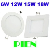 LED Ceiling lights 6W 12W 15W 18W 2835smd panel lamps Ultra thin Round Square home Kitchen 110V 220V Free Shipping 1pcs/lot