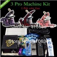 Tattoo Kit 3 Machine Gun Power Supply Foot Pedal Needle Grip Tip (U-Pick machine)