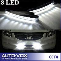 Free shipping New Arrival 2pcs/set Super White 8LEDs Universal Auto Light LED Daytime Running Lamp Head DRL Light Car Fog Lamp