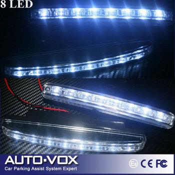 New Arrival LED DRL 2pcs/set Super White 8LEDs Universal Auto Light LED Daytime Running Lamp Light