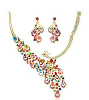New 2013 Free Shipping Peacock Imitated Gemstone Gold Plated Jewelry Sets African Jewelry Set Wedding Jewelry Necklace Earrings