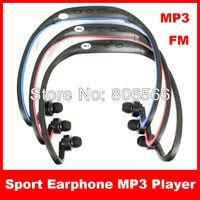 New Earphone Sports MP3 WMA Music Player Wireless Handsfree Headset Micro SD TF Card+FM Radio Factory price