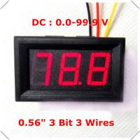 """Red LED Display Color  0.56"""" Digital Voltmeter DC:0-100V Three wires 3 bit Voltage Panel Meter [ 4 pcs / lot]"""