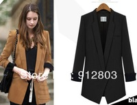 2014 WOMEN'S Plus Size Black Business Tuxedo Quality SLIM Medium-long Long-sleeve One Button Blazer Suit, Autumn Jacket Outwear