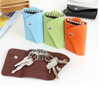 Min order 15$ ( Mixed Order ) Fashion Vintage PU Leather Lock Key Chain Car Key Holder Bag Case 6 pcs Alloy Ring Knot Case