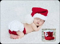 free shipping,Newborn Baby Christmas Santa Claus Outfit Crochet long tail pixie Elf Hat,Diaper Cover and boots 3pcs Sets Photo