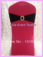 100pcs Top Quality Black  Lycra Band With Oval Buckle  ,Double Layer Lycra Bands For Wedding Events &Party Decoration
