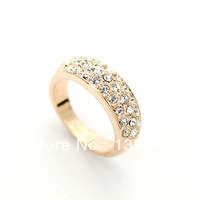 Classic 18K Rose Gold Plated Rhinestones Studded Finger Rings (Umode JR0084A) FREE SHIPPING