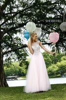 Famous Brand Long Tulle Beaded Pink Bridal Gown Corset Top Wedding Dress