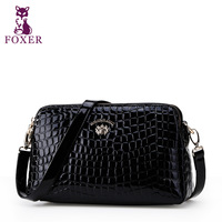 FOXER women messenger bag new 2013 small shoulder bags cowhide handbag famous brand leopard school bag women leather handbags