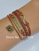 (Min Order $7) Charms Infinity Bangles Antique Bronze Karma Dream and Camera Brown Rope Leather Girl Bracelet Gift Women Jewelry