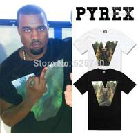 Pyrex vision t-shirt by KANYE WEST 23 V print hip hop tees new 2014 fashion Rock tops heybig skateboard shirt casual blouse