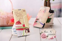 sweet flip cover!(5pcs/lot)PU leather case for samsung note 2 N7100