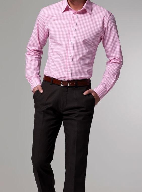 collar shirt high quality Pioneer pink gingham men shirts 61-in Dress ...