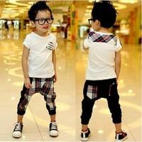 2013 Summer England Style Pure cotton Children Clothes Kids Set White t shirt+cell Harem pants 2pcs boys suit 1set Retail