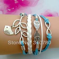 Free shipping leather bracelet Silver Infinity Owls Lucky Branch Leaf Lovely Bird Charm bracelets for women Braid bracelet