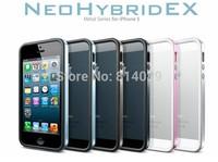 Free Shipping Spigen SGP Neo Hybrid EX Case For IPhone 5 bumper + Original Box + Screen Protector Steinheil + Home Buton 3EA