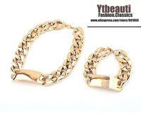 [Mix 15USD]New Fashion Top Trendy Beauty  Lock Gold Plated Chain Bracelets and Necklace set Jewelry for 2013 women