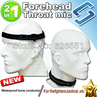 Forehead throat vibration mic bone conductor 2 in 1 Surveillance acoustic tube earkit for Kenwood Motorola Yaesu Icom waterproof