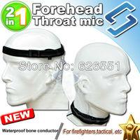 Forehead throat vibration mic bone conductor 2 in 1 Surveillance acoustic tube earkit for Kenwood Motorola Yaesu Icom waterproof