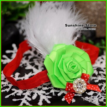 Sunshine store #2B2285  10pcs/lot(green red white)baby headband girl rosset diamond bow feather headband Christmas headwear CPAM
