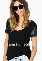 tops for women autumn winter fashion 2014 cotton PU patchwork black sexy V neck short sleeve long top cute tshirt for women