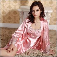 2014 Sale fashion Sexy Silk robe costume Sexy Full Slips (Vest+Slip) Pink Lace Dress Sleepwear Fee shipping