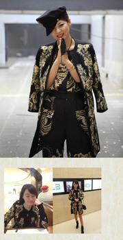 Модный Runway quality Шерсть Женщины's embroidery flower Длинный coat with belt ...