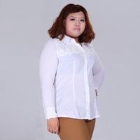 Spring new 2014 women shirt black/white lace work wear camisas femininas plus size tops blouses long sleeve blusas 3XL-8XL
