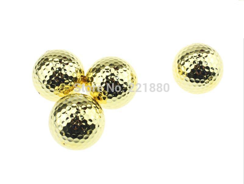 Free Shipping 2014 New Arrival Two Piece Golden Golf Balls With Golf Ball 24pcs(China (Mainland))