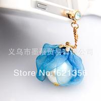 Big Pearl Pendant Jewelry Dust Cap, Silk Fabric Jewelry Accessories,Earphone Plugs,Wholesale,Free Shipping,20pcs/lot, XZZ483