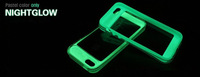 10pcs NEW arrival night glow Glossy candy color luminous hybrid hard case back cover case for iphone4 4S with ring stand