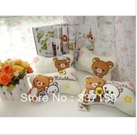2013 new style ! Free shipping 27x17cm rilakkuma pillow,  stuffed head pillow , cushion for car,  birthday gift for girls