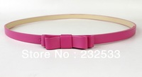 Fashion Double bowknot belt Women's Cute Nice Candy color PU leather Thin Belt HCX01