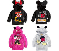 Retail Boys Girls Long Sleeve Hoodies Mickey Minnie Mouse Cartoon Top For Kids Tee Shirts Fit 2-6yrs Sweatshirt Free Shipping