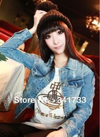 2013 newest Autumn&winter Women's short jackets/Ladies' denim coat overcoat/hole design outerwear good quality/Free Shipping TY