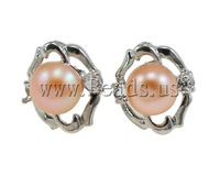 Free shipping!!!Freshwater Pearl Earrings,DIY,Jewelry DIY, with Rhinestone & Brass, Flower, natural, pink, 12.8x14mm
