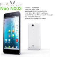 NEO N003 Cell Phone MTK6589T Quad Core 2G DDR3 RAM 16G ROM 3G WCDMA 5 Inch FHD IPS Screen 1920x1080 Android 4.2 OS Bluetooth GPS