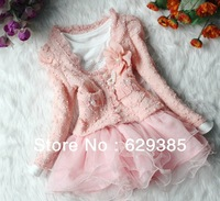 Retail 1 Set 2013 Autum Girls Long Sleeve Clothing 2 pcs Set Coat Jacket+Dress Tutu Pink Beige Girl Outfit For 2-6 Y Kids