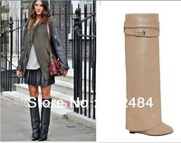 Free Shipping Women  Fashion Straight ,Motorcycle Boots, Wedge Heel ,Knight Knee High Winter Boots
