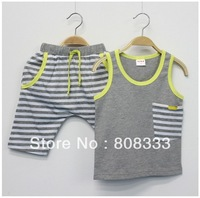 Brand New Cotton Kids Set Sleeveless Shirt and Pants Striped Casual Garment Boy Clothes Summer Sets Free Shipping