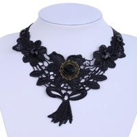 Yazilind JewelryFashion Lady's Lace Victorian Lolita Tassel Choker Collar Necklace 1035N003300800