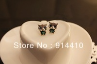 European Retro Crystal Jewelry Cute Owl Stud Earring For Women Min.order is $10 (mix order)Free Shipping