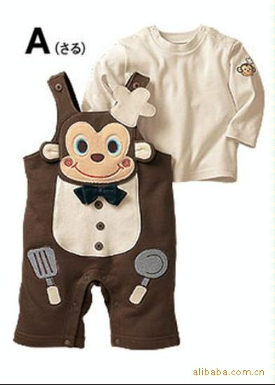 Hot Baby Boy Monkey chef pants + long-sleeved round neck style overall t-shirt 2pcs 1set baby Clothing Set(China (Mainland))
