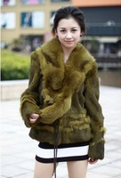2013 New Arrival Women's Winter Warm Long Sleeve Long Sleeve Rabbit Fur Coat Army Green/Coffee Sent from Russia