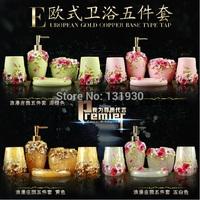 Free shipping 5pcs/set bathroom accessories high-class resin bath set soap tray+lotion dispenser 3 colors SSJ-5
